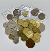 A quantity of Australian and New Zealand, one and two dollar coins. Lesser denominations and pre-