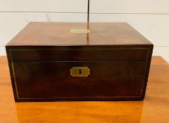 A Brass mounted dressing box, the lid inset for mirror or stationary, the base fitted with cut