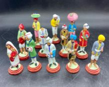 A small selection of Indian painted clay figures AF