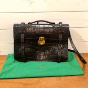 A vintage Mulberry brown Congo leather satchel/brief case as new with dust cover and clean interior