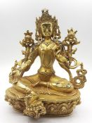 A Tibetan gilt bronze of goddess Tara, (20 cm high). Provenance: From the Sidhu Family Collection.