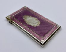 A Victorian silver and pink enamel card case, makers mark George Unite, hallmarked for Birmingham