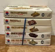 A selection of five boxed Nitto army tank model kits, to include, Panzer IV Ausf 20, Panzer