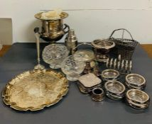 A selection of white metal items including on ice bucket, cocktail shaker etc