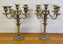 A Pair of substantial, five light, candelabra.