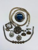 A selection of silver jewellery