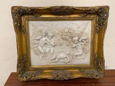 A gilt framed marble plaque (H44cm W55cm)