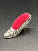 A Silver pincushion in the form of a Victorian Shoe set with Marcasites