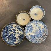 Two Blue and White Bowls and Saucers.