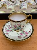 A very rare set of Royal Worcester hand painted demitasse with yellow enamel and silver gilt