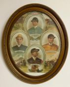 Oval Picture of Victorian Jockeys, Tod Sloan, Mornington Cannon, O Madden and T Loates