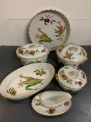 """A selection of Royal Worchester """"Evesham"""" tableware to include, fish dish, gravy boat etc"""
