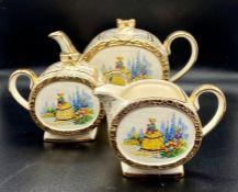 A Sadler China Tea Set Tea pot, sugar bowl, milk jug.