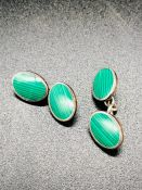 A pair of Gents silver cuff links with malachite