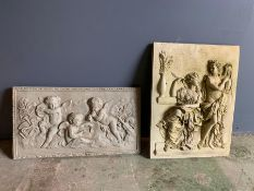 Two garden decorative plaques, one with a Roman theme (30cm x 40cm) and one with cherubs (42cm x