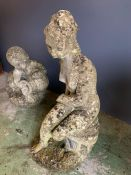 Two water features, a statue of a lady (H63cm) and a boy holding a urn (H44cm)