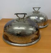 A Pair of substantial HH& S silver plated cloche with foliate engraving