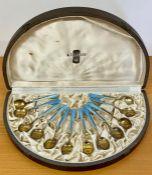 A Boxed set of twelve enamel and silver teaspoons, Finish 1950's (A.Tillander)