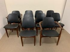 Eight EON chairs and two carvers in teak with black seat pads and back
