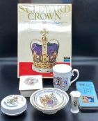 A selection of Royal collectable items to include a cup, bowls, soap, etc, also a St Edward Crown