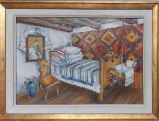 "A 20th century Romanian school, ""Interior Transylvania"", illegibly signed and titled verso, oil,"
