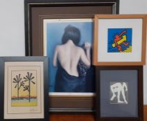 A group of 4 prints, including Picasso and Keith Haring.