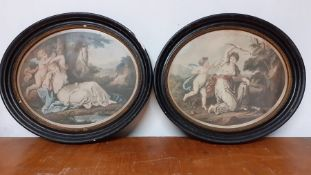 A pair of oval prints after Angelica Kauffman RA (1741-1807) by Thomas Burke (1749-1815), ' Cupid