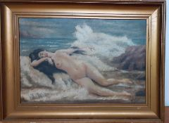 """A 19th century French School, 'Female nude on the beach', signed """"A.Petit', oil on canvas,"""