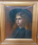 A 20th century English school, Portrait of a young lady, bust-length, wearing a floppy hat,