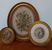 A group of three 19th century mixed media on oval frames (34x26 cm largest). (3)