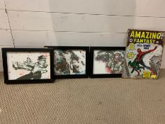 A selection of comic strip posters, framed