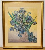 """After Vincent Van Gogh, """"Irises"""" a coloured lithography after the original at the Van Gogh Museum"""