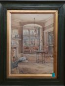 A watercolour depicting an interior, unsigned, framed and glazed, (25.5x18 cm). (2)