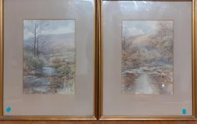 A pair of English school watercolours, depicting riverscapes, framed and glazed, (24x17 cm each). (