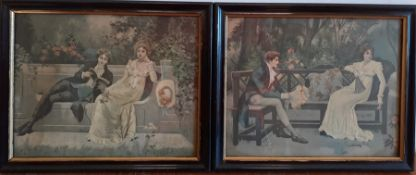 A pair of coloured prints, framed and glazed, (19x24 cm). (2)