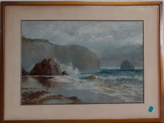 A oil on canvas depicting a seascpae, unsigned, framed and glazed, (23x34 cm).