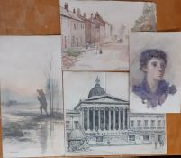 A group of watercolours by different authors (M. Kobayashi, Arthur Bannister, Ruth Colb and G.M.