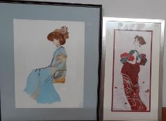 A pair of drawings depicting modernist women, (31x14.5 cm largest). (2)