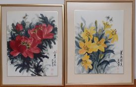 A pair of Chinese watercolours depicting flowers and bees, framed and glazed, (41x31 cm). (2)
