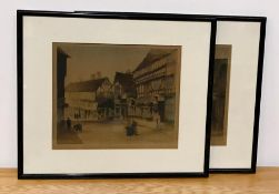 """A pair of 20th century engravings printed in colours, illegible signature, stamped """"ealc"""" """"esz"""""""