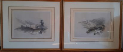 A pair of prints after David Roberts, framed and glazed, (26x36 cm). (2)