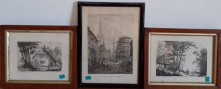 A group of three prints, (22x16 cm largest). (3)
