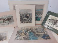 """A collection of 19th century prints some hand coloured, depicting the Ascot races, comprising """"The"""