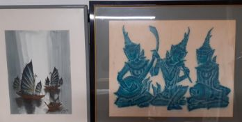 A pair of oriental scenes, mixed media, one signed, framed and glazed, (42x54 largest).