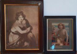 A pair of prints after Sir Edward John Poynter and Vigée Le Brun, framed and glazed, (39x29 cm