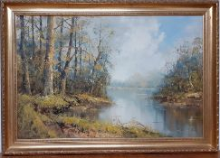 A 20th century English school, 'Riverscape', illegibly signed, oil on canvas, within a