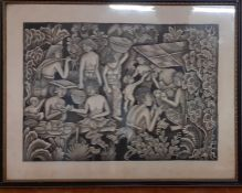 A South-Asian school, unsigned, ink on paper, framed and glazed, (34.5x45 cm).