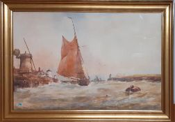 Richard Malcolm Lloyd (1855-1945), 'Fishing boats in a harbour with windmills', signed lower right