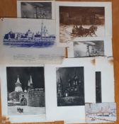 A group of Russian works, comprising a Post Card, engravings and a drawing. (8)