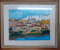 Continental school, 'Village view', oil on paper, framed and glazed, (30x40 cm).